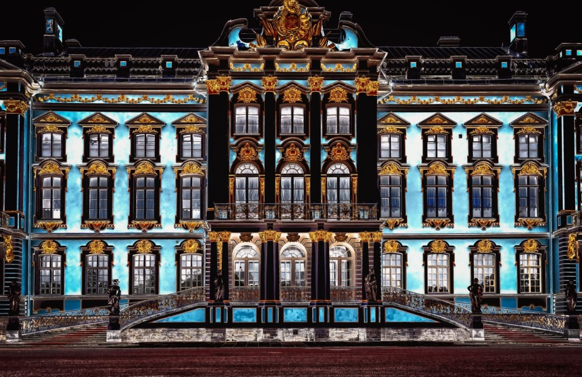 catherine palace   pushkin   tsarskoye selo   russia   night   the man in the front seat   bwd vacations
