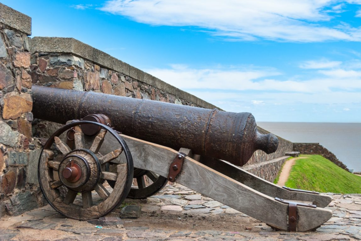 One of the old cannons protecting Colonia del Sacramento, Uruguay